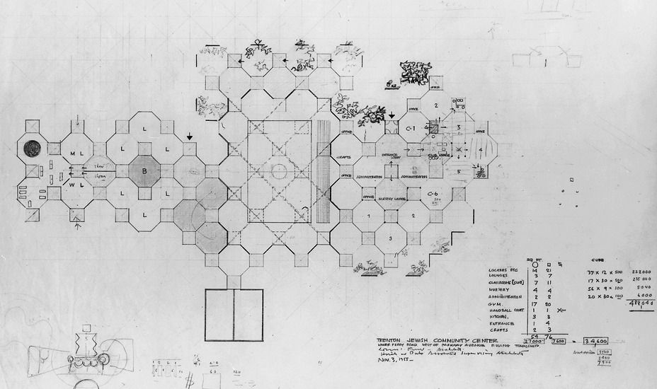 onsomething:  onsomething  Louis Kahn + Anne Tyng | Trenton bath house, 1955 Preliminary plan of the main building. The plan has octagonal 'served spaces' and square 'servant spaces'. The site scheme appears as a diagram in the lower left corner.