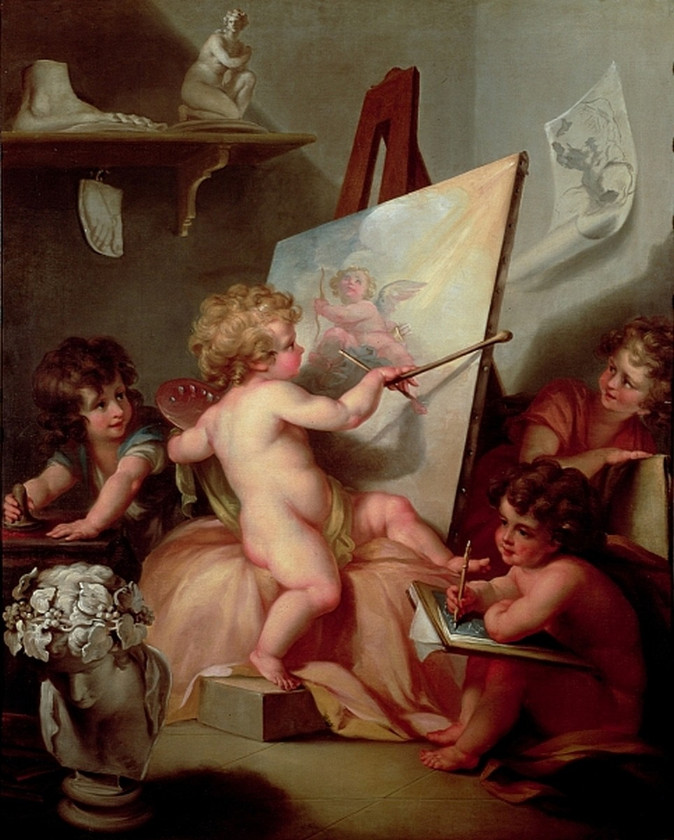 "artsandcrafts28:  Angelica Kauffmann - ""Cherubs: Painting"" unknown date"