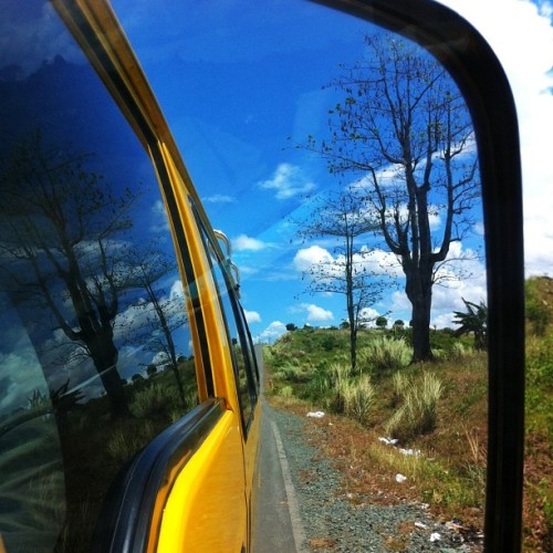 Yellow van, blue sky and bare tree plus those white tissue like things on the ground that I want to photoshop and remove. Whoever threw/left it there better learn how to keep his surroundings clean.    Leave no trace behind. Take nothing but pictures, leave nothing but footprints.