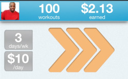 Workout #100 with GymPact is in the books! Although the small monetary payout is nice (I've cashed out a few times) The penalties for missing a workout have definitely kept me going. $10 for not going on a run or hitting the gym have definitely kept me going. Here's to the next 100!