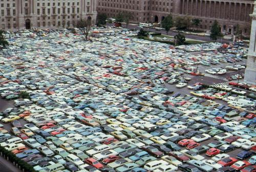 collectivehistory:  Cars jammed into every inch of space during a bus strike in Washington, D.C. - May, 1974, courtesy of the National Archives