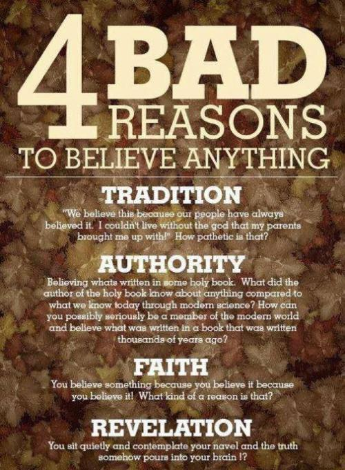 spacephilosopher:  4 Bad Reasons to Believe Anything