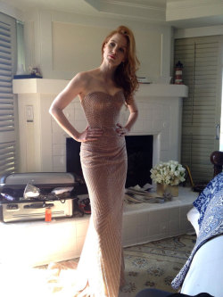 Jessica Chastain at a fitting for her dress the day before the Oscars