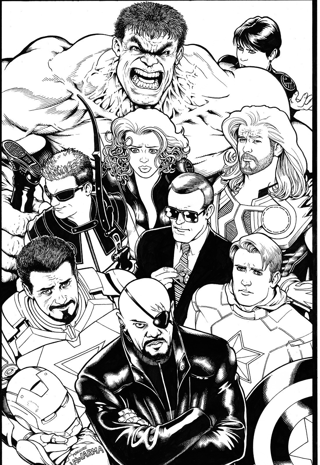 brianmichaelbendis:  The movie Avengers by Kevin Maguire!