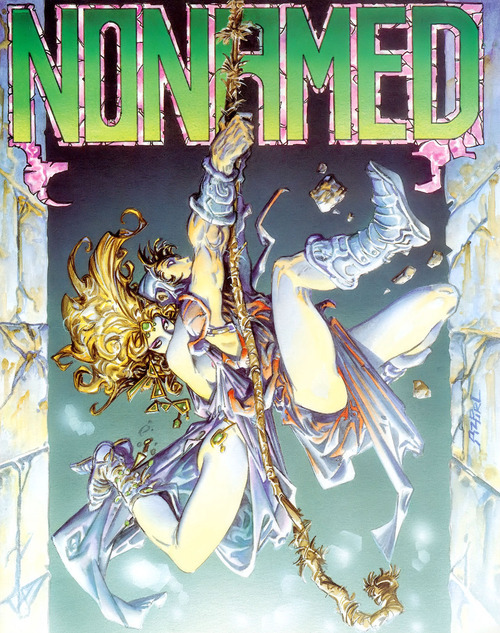 Cover art by the illustrious illustrator Alfonso Azpiri for Nonamed (1986). Released on the ZX Spectrum and Amstrad CPC by Dinamic Software.