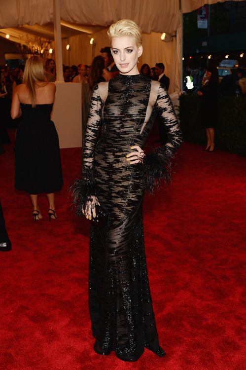 hisversionofevents:  s7fashion:  Anne Hathaway was my best dress for the #MetGala. She even dressed to the Punk theme.   Absolutely couldn't agree more, her and Madonna were the only one's noticeably punk.  Anne Hathaway is EVERYTHING!!