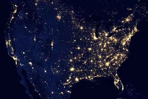 thedailywhat:  This is What the United States Looks Like at Nighttime  Here's the latest view of the United States at nighttime captured by NASA's Suomi NPP satelliteand revealed at the American Geophysical Union conference earlier this week on Wednesday, December 5.   Wow. You can almost see the outline of West Virginia there…