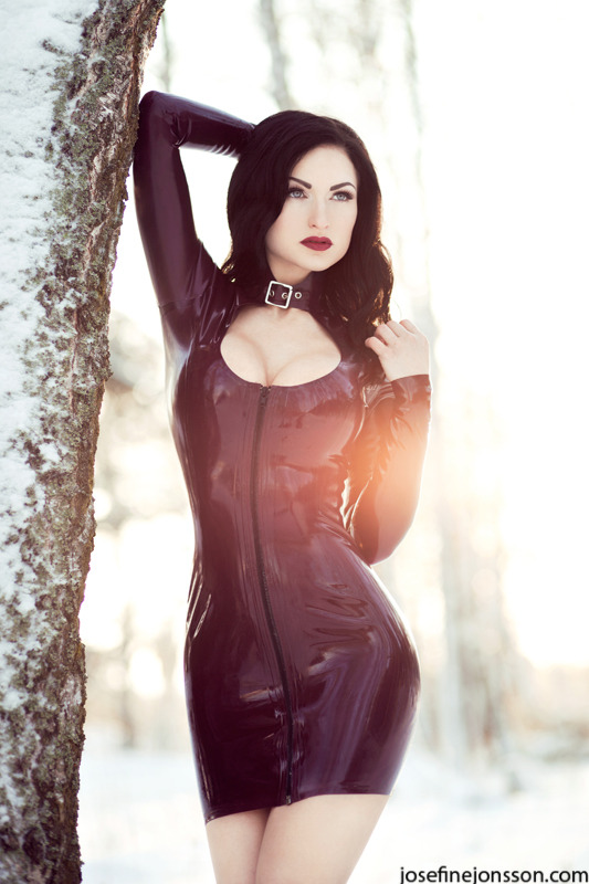 latexlatexlatex:  Sister Sinister wearing Westward Bound Latex Dress - http://josefinejonsson.com