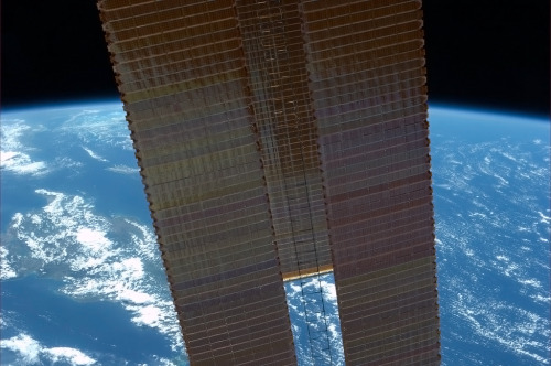 colchrishadfield:  Our solar arrays, like the Earth's atmosphere, are thin, beautiful and vital for keeping us alive.