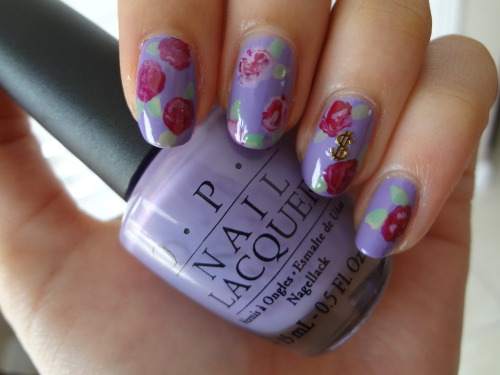 stephanieanguyen:  Money Bouquet Nails Base color: OPI's Do You Lilac It?Flowers: OPI's Kinky in Helsinki, Miami Beet, Steady As She RoseLeaves: OPI's Stranger Tides, Mermaid's Tears
