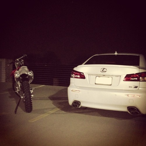 Something about dual exhausts that I just love! 😍#lexus #isf #honda450r