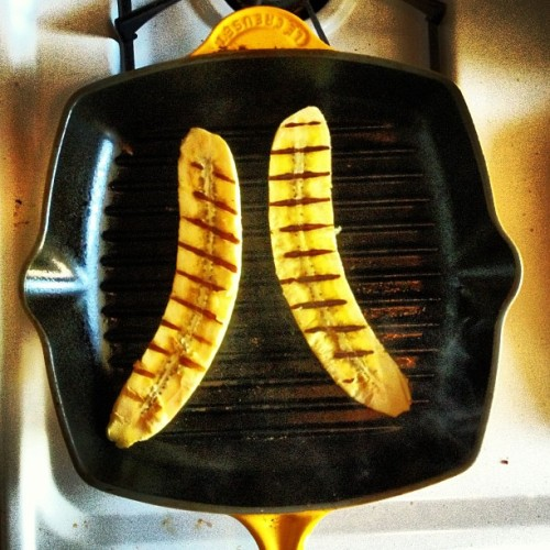 Grilling Plantains on a yellow creuset