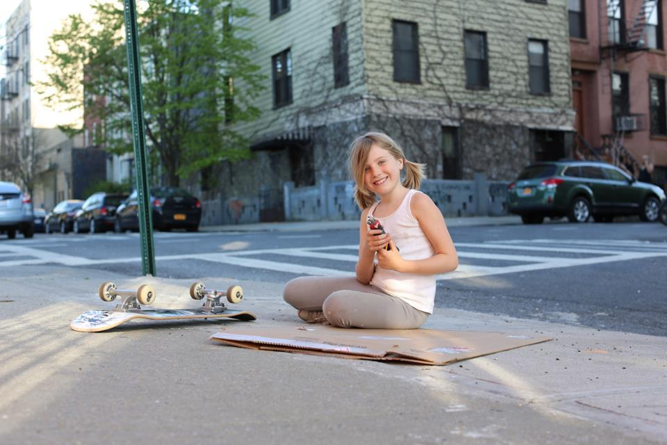 "humansofnewyork:  ""I'm making a present for Mama."" ""What is it?"" ""I'm going to cut her name out of cardboard. Then I'm going to make a self-portrait of myself!"""