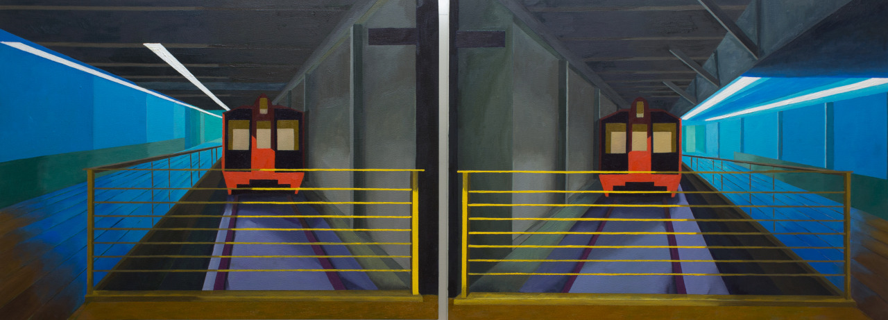 Grand Central Station #2 (diptych). Oil on Wood 18x 24 - 18x 24   Based on the station in NYC, I went to a three day trip to NYC back in 2018 and had a chance to take a few photos while doing touristy stuff :D. This is a diptych meaning they're two paintings that are a pair meant to be shown together.    Interestingly enough this painting was painted and sold in Canada and then sent to NYC :D    If you would like to support my work follow my IG below or grab something from my shop, I do appreciated any support that I can get - it does go a long way especially this year. :)   INSTAGRAM. ETSY SHOP. #art#fineart#painting#oil painting#painter#artist#architecture #grand central station #NYC#NYCart#new york#perspective#blue#red#yellow#light#shapes#geometric#deviantart#illustration#structure#train station#train#geometric abstraction#diogo pinheiro#canada#united states #artists on tumblr  #painters of tumblr #tumblr art