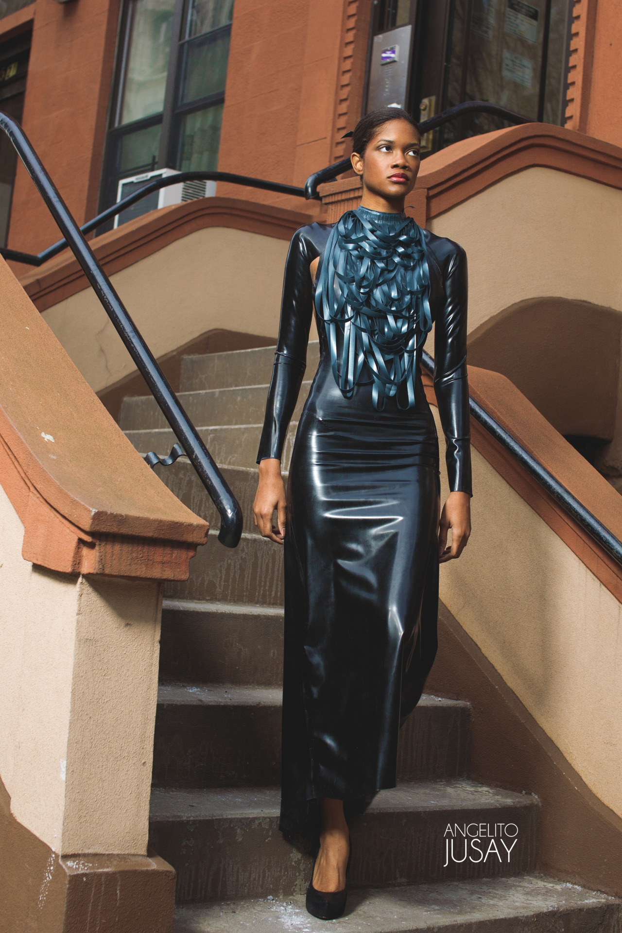 Stripped Drape Latex Neck Piece Price:  $250.00 Latex Cut Out Gown Price:  $450.00