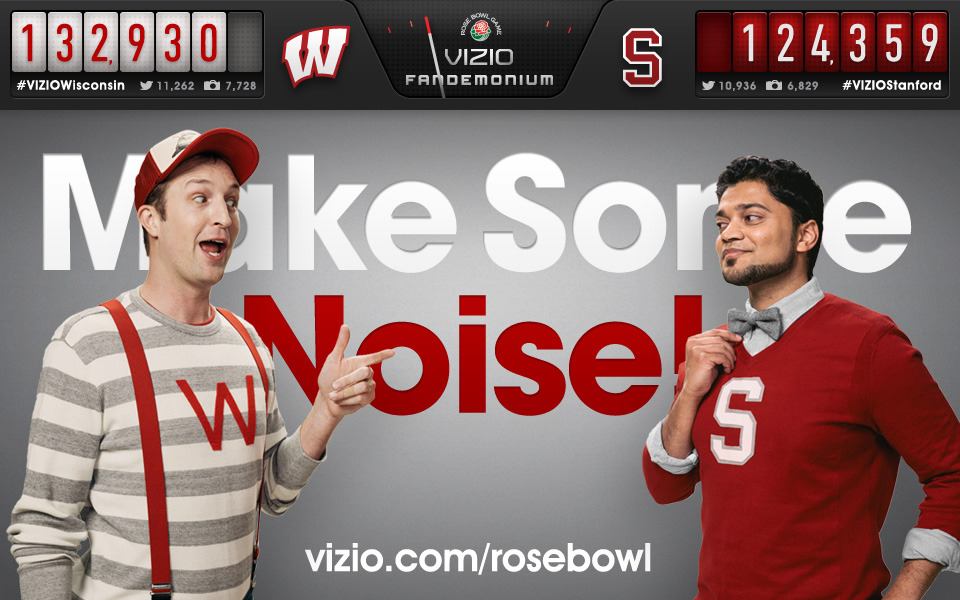 2013 Rose Bowl VIZIO Fandemonium There are few things that draw people out of the woodwork like a good old fashioned college bowl game. From face painters to tailgaters, football fans aren't afraid to make some noise. But, we wanted to know whose fans can make the most noise—Wisconsin's or Stanford's? The countdown is on, so head over to VIZIO Fandemonium to make some noise for your team!