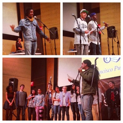 A glimpse into the Unified District Poetry Slam preliminaries held at the San Francisco Public Library.  The event is a team slam, with each participating school having a team of 4-6 poets. The District Slam event is open to schools beyond San Francisco and Oakland: schools from across the East Bay, North Bay, and Peninsula are invited to send a team to the Greater Bay Slam preliminary bout! Spots are limited, and priority is given to schools with Youth Speaks residencies and/or SLAM clubs. The top-scoring schools from each bout move on to perform for the title of UDPS Slam Champion! Come to the UDPS Grand Slam Finals :: 5PM-7PM | Friday, March 1, 2013 @ San Francisco Public Library, Koret Auditorium.