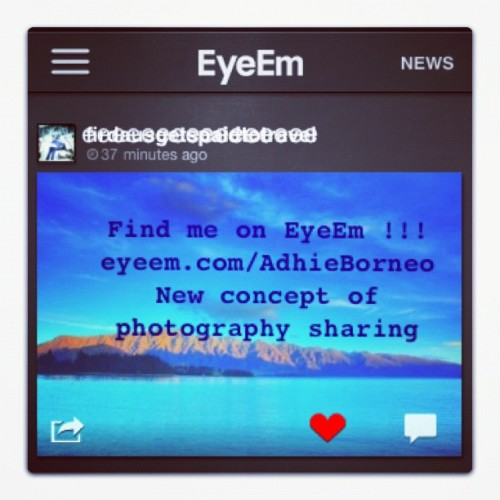 Find me and follow me on EyeEm!!! You can sharing photos with anyone!! You can get followers!! You can follow anyone!! Thats free!! Without hactic Terms!! Also with cool effects for all you photos!! Follow me eyeem.com/AdhieBorneo  #instadaily #instagood #instamood #instahub #instago #instagram #igers #instanusantara #instanesia #ibandungnesia #instabandung #instadonesia #bestoftoday #photooftheday #iphonesia #indonesia #bandung #jakarta #eyeem #photosharing #newapps #movingforward  (at eyeem.com/AdhieBorneo)