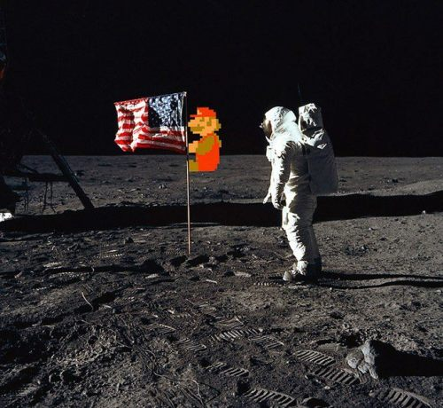 Mario first on the moon