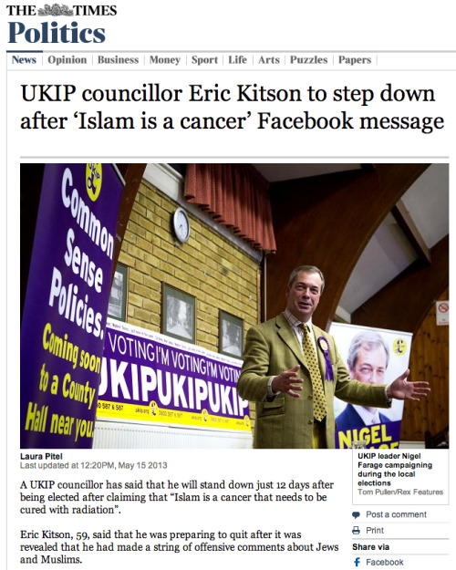 The Times Online ran my image from the UKIP campaign in Great Missenden again.