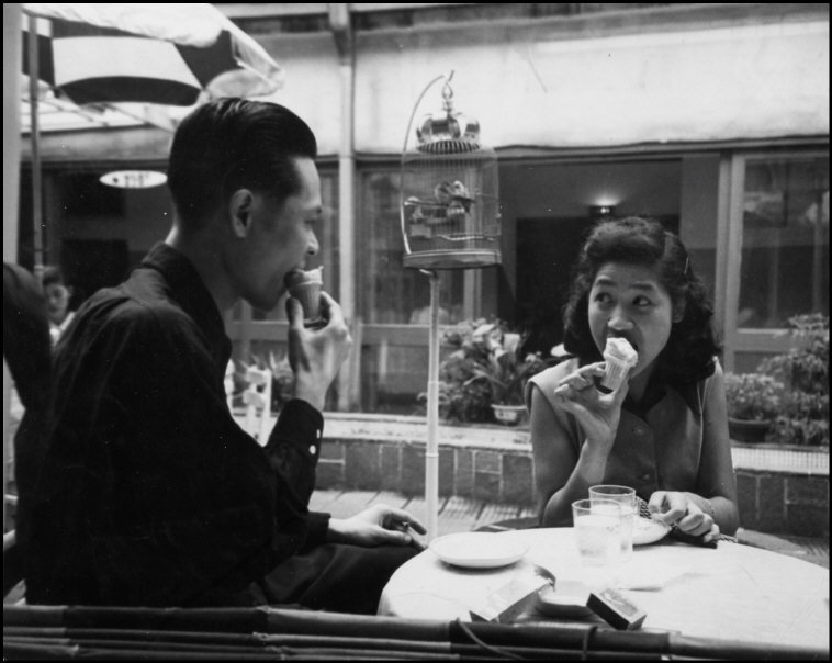 theniftyfifties:  Japanese youth eating icecream, 1950s.