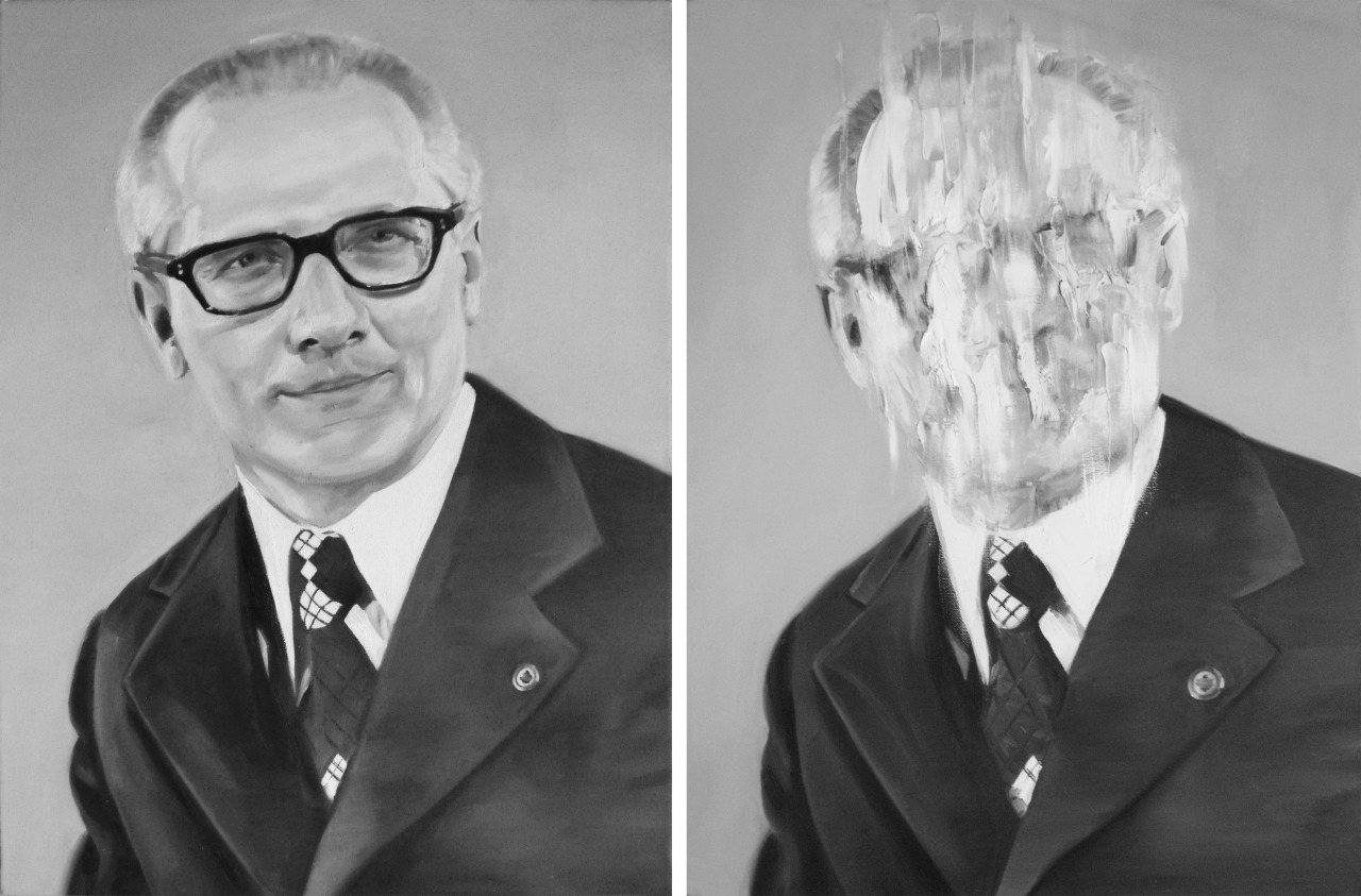 "Head (Diptych) by Travis K. Schwab - Both oil on canvas 24"" X 18"""