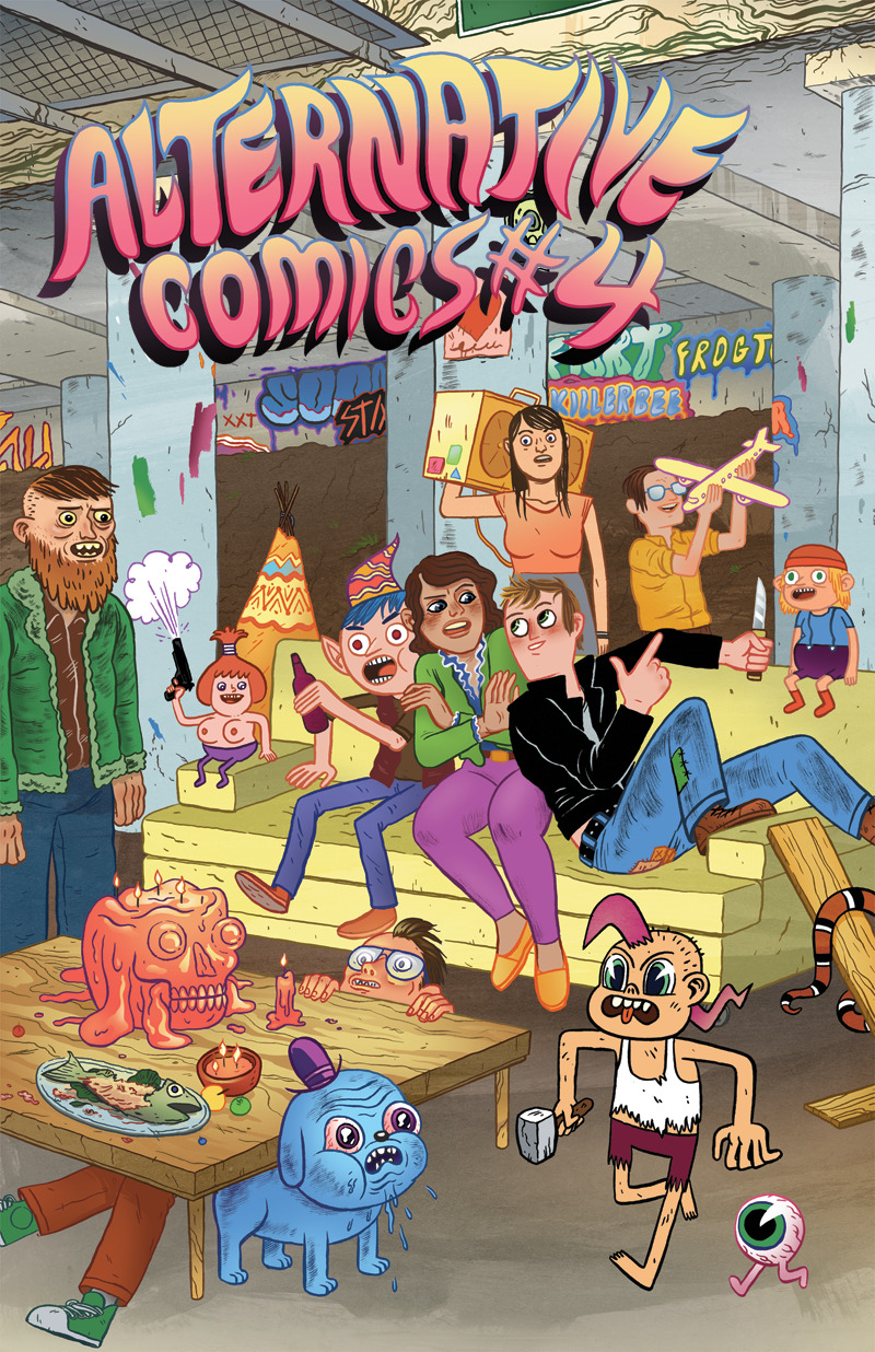 torontocomics:  Alternative Comcis #4By Various Artists48 pages, Black and WhitePublished by Alternative ComicsDebuting at TCAF 2013! Alternative Comics' flagship anthology returns as a twice-yearly comic with more pages, showcasing the best indie, web and zine artists of today's underground. Cover art by Mike Bertino (Trigger). Comics by Theo Ellsworth (The Understanding Monster) & Craig Thompson Blankets, Habibi), Sam Alden (Eighth Grade), James Kochalka (SuperF*ckers), Sam Henderson (Magic Whistle), Noah Van Sciver (The Hypo), Grant Snider (Incidental Comics), Alex Schubert (Blobby Boys), Andy Ristaino (Adventure Time), and Allison Cole (Never Ending Summer). Inkstuds interview with and comics by David Lasky. Debuting at TCAF. In stores in June.