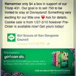 Good morning instafriends! Just a reminder to support the Girl Scouts of Troop 431.  Also vegan cookies available  and the NEW Mango Cremes have arrived! 👍 Ask me for details. 💜 Thank you for your support. Dates to come when we'll be out at Staters in Grand Terrace 😉😘
