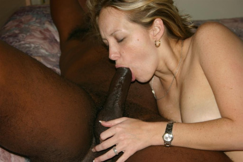 Busty wife sucking black cock