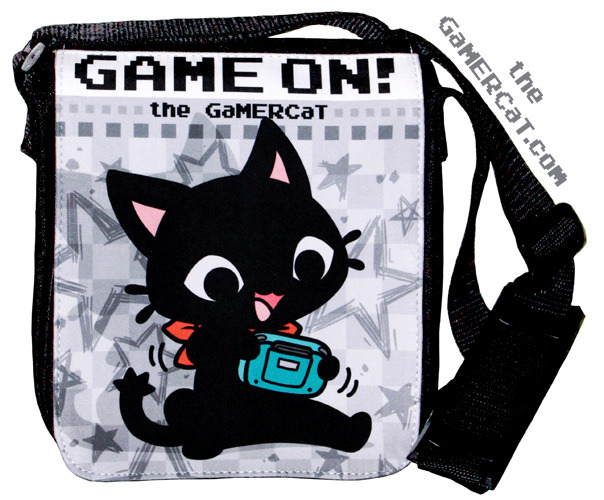 A GaMERCaT shoulder bag? Can it be true? It certainly can! http://www.sugarbunnyshop.com/collections/bags/products/gamercat-game-on-shoulder-bag