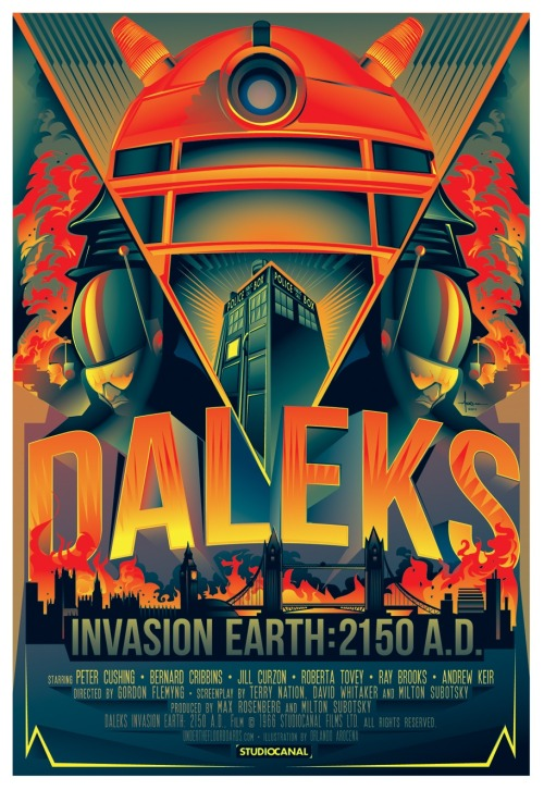 Daleks Invasion Earth: 2150 A.D - movie poster art by Orlando Arocena.  Soon to be available as a limited edition print from www.underthefloorboards.com  Check out more of Orlando's work here: http://www.behance.net/orlandoarocena