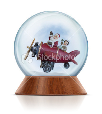 Santa Claus and little boy flying with airplane and waving in the snow globe. Clean image and isolated on white background. Go>