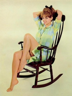 ladiesofthe60s:  Claudia Cardinale lounging in a rocking chair, c. early 60s.
