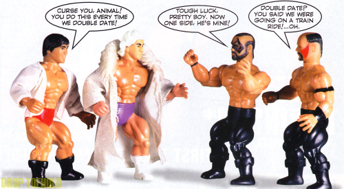 "This gross comic strip (found in ToyFare Magazine #22) showcases figures from Remco's American Wrestling Association All-Star Wrestling Figures which were the first line of wrestling toys to be sold in the U.S., slightly beating out LJN's line of World Wrestling Federation figures. These AWA figures were very similar-looking to characters from the Mattel He-Man line and included wrestling legends such as Ric Flair, Abdullah the Butcher, Stan Hansen, and the Road Warriors. Fun fact: In addition to having people like ""The Nature Boy"" in their toy line, Remco also managed to create plastic versions of ""Big"" Scott Hall and Shawn Michaels well before they became famous for their roles in the WWF."