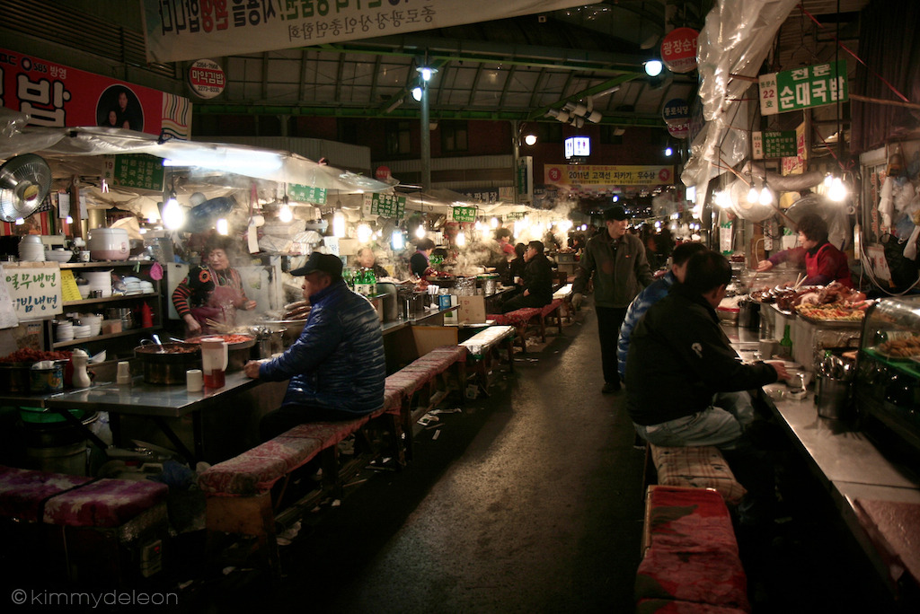 Gwangjang Market | Seoul, South Korea The Gwangjang market is one of Seoul's largest food alley that serves a variety of Korean dishes from mung-bean pancake to bibimbap.