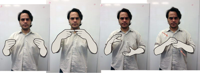My colleague Jonathan Corum writes about drawing sign language in last week's NYT. (Posing is Sergio Pecahna, another colleague.)