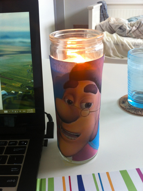 keeping this hugh neutron candle by my laptop to remind me not to sweat the small stuff
