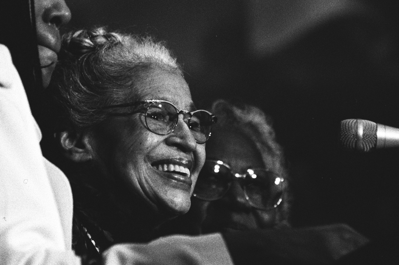 "Rosa Parks, the ""Mother of the Civil Rights Movement"" will be honored with a special document display and programs at the National Archives during the month of February: usnatarchives:  On December 1, 1955, Rosa Parks refused to yield her seat to a white passenger on a city bus in Montgomery, Alabama. This act inspired the Montgomery Bus Boycott, led by a young Martin Luther King, Jr., and began a movement that ended legal segregation in America. Join us Monday, February 4, at noon for a special program celebrating her centennial year. William S. Pretzer introduces the 2002 documentary Mighty Times: The Legacy of Rosa Parks (40 mins.) Presented in partnership with the Smithsonian National Museum of African American History and Culture. The program is free! Enter through the ""Special Events"" extrance on Constitution Avenue. Doors open at 6:30. Take the Green/Yellow Metro lines to the ""Archives"" stop. Image: Rosa Parks at the ceremony awarding her the Congressional Gold Medal, June 15, 1999. William J. Clinton Presidential Library and Museum, National Archives"