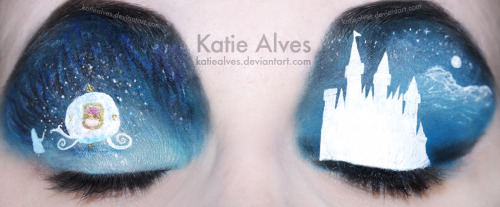 Cinderella Makeup! I've been putting this one off for too long! I was really nervous about doing the carriage. Those swirly wheels… oh my god! I must have done them at least half a dozen times! But I finally did it! Yay! So we've got the Fairy Godmother turning the pumpkin into the carriage and on the other side is the castle. I had to draw out that castle a million times trying to get it right! Hopefully it's recognizable. Got any suggestions? Let me know in the comments!