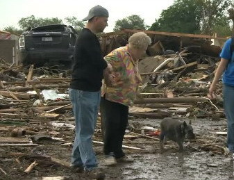Video: Elderly lady reunited with her dog after Oklahoma tornadoAmong so much devastation from the horrendous mile-wide tornado that has ripped through the Oklahoma City suburb of Moore, there is, at least, some good news as an elderly lady and her dog have survived the storm.Read more: http://www.digitaljournal.com/article/350539