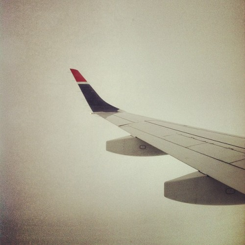Nothing but clouds on the view back to the concrete jungle. ✈🗽