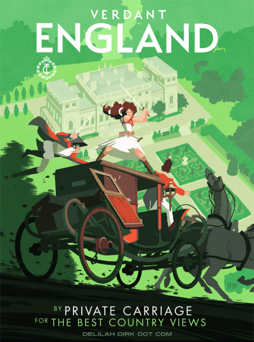 "tonycliff:  ""Verdant England"" - a new Delilah Dirk illustration inspired by vintage travel posters. This one takes specific cues from the London Transport Museum's poster collection from the 1920s.  I love the travel posters!  I have Constantinople at home…"