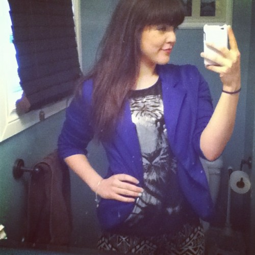 #ootd #blazer #tribalprint #leggings #tribal #cobalt #tiger #brunette