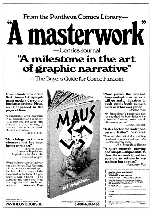 Promotional ad for the first book collection of Maus by Art Spiegelman, 1986.