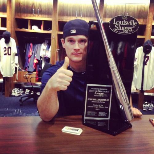 Josh Willingham and his Silver Slugger award. Via @TPlouffe24