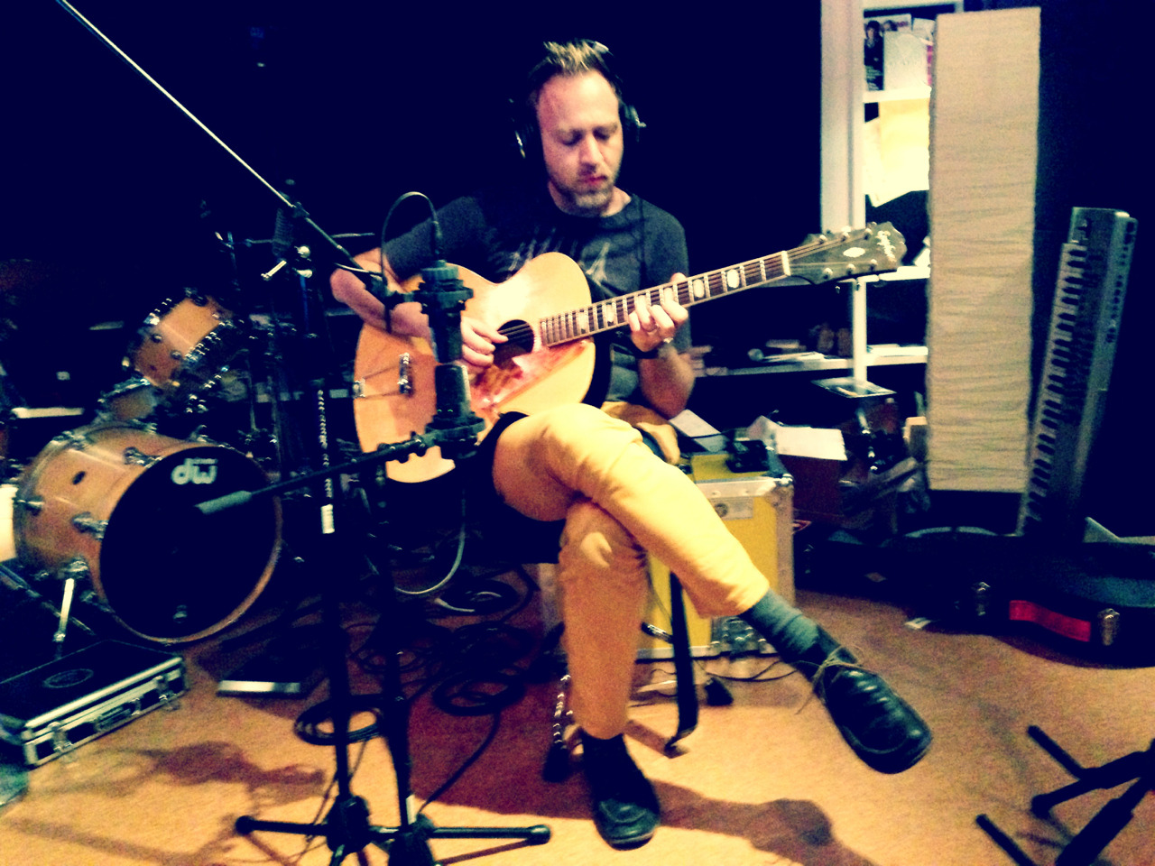 Recording a bit of acoustic guitar for the final cue of Don Jon's Addiction in the REC Room.