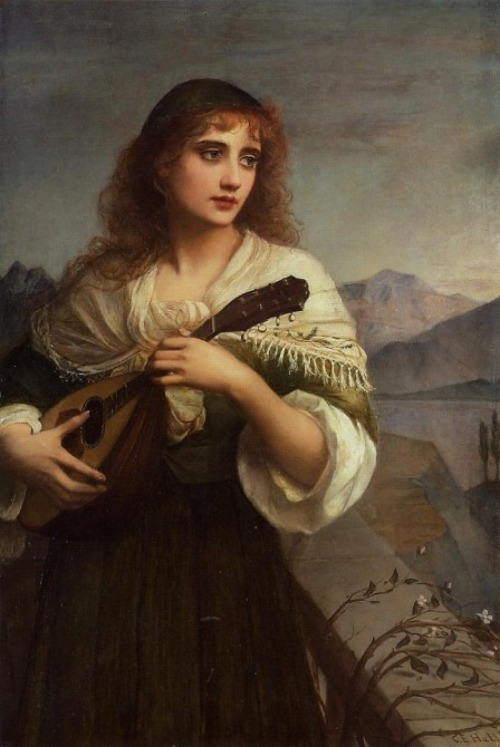 books0977:  Francesca and Her Lute (c.1900). Edward Charles Hallé  (English, 1846-1914). Oil on canvas. Hallé's  first professors were Richard Doyle and the Baron Marochetti when he entered the School of the Royal Academy of London. At seventeen years of age he traveled to France and worked with Victor Mottez, a student of Ingres.