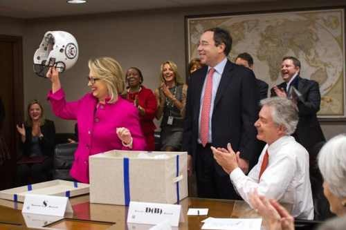 Hillary Clinton Returns To State Department, Gets Amusing Gag Gift