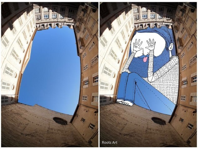 Artist turns the sky between buildings into whimsical illustrations