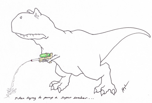 T-Rex Trying to pump a super soaker… #TRexTrying More unseen cartoons in our new book!!!